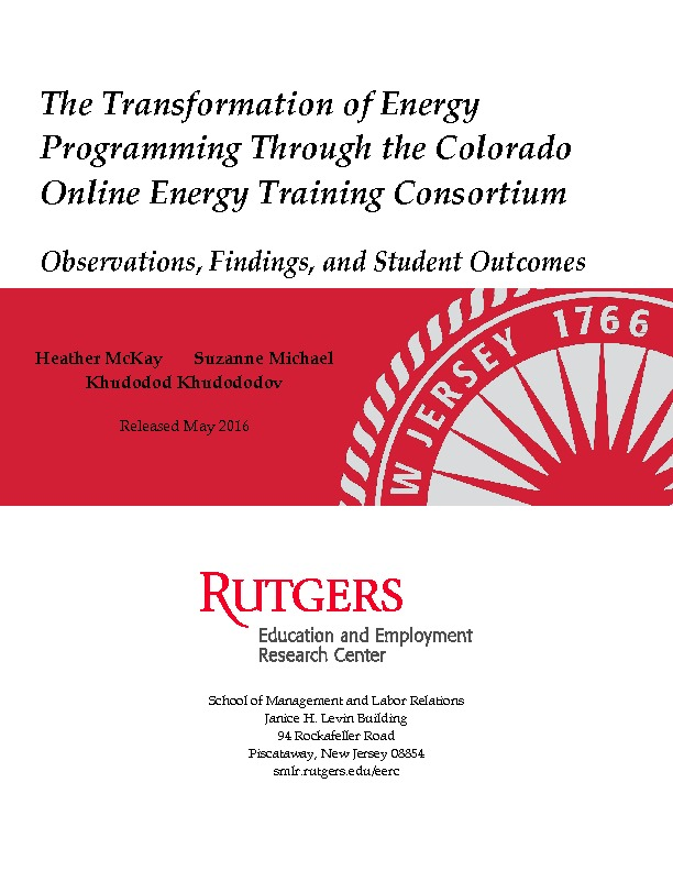 The Transformation of Energy Programming Through the Colorado Online Energy Training Consortium May 2016 PDF
