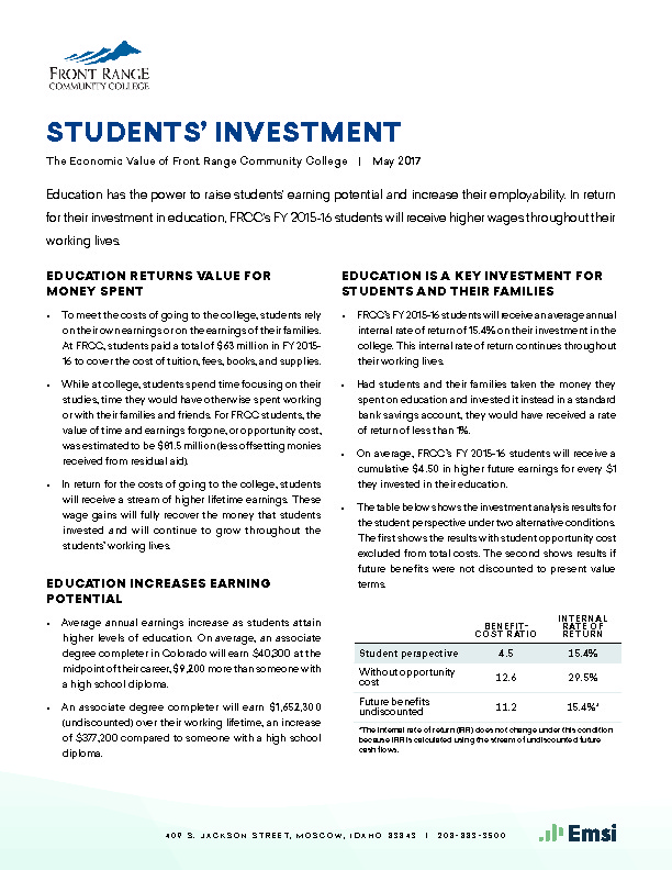 Students' Investment (FRCC) PDF