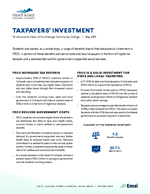 Taxpayers' Investment (FRCC) PDF