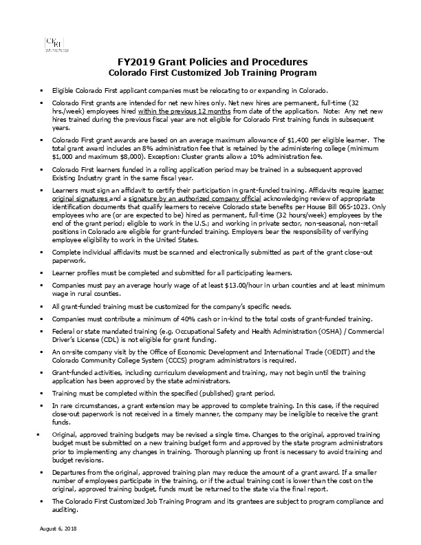 FY 2019 CF Grant Policies and Procedures PDF
