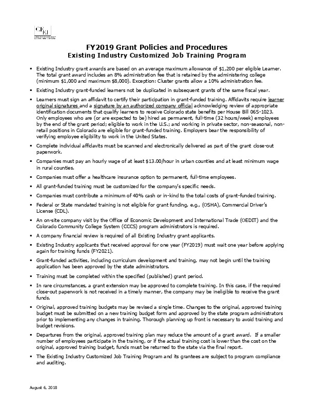 FY 2019 EI Grant Policies and Procedures PDF