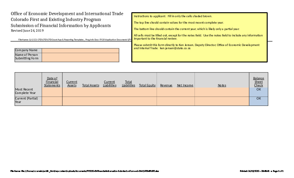 FY2020 OEDIT EI Financial Information Form Excel