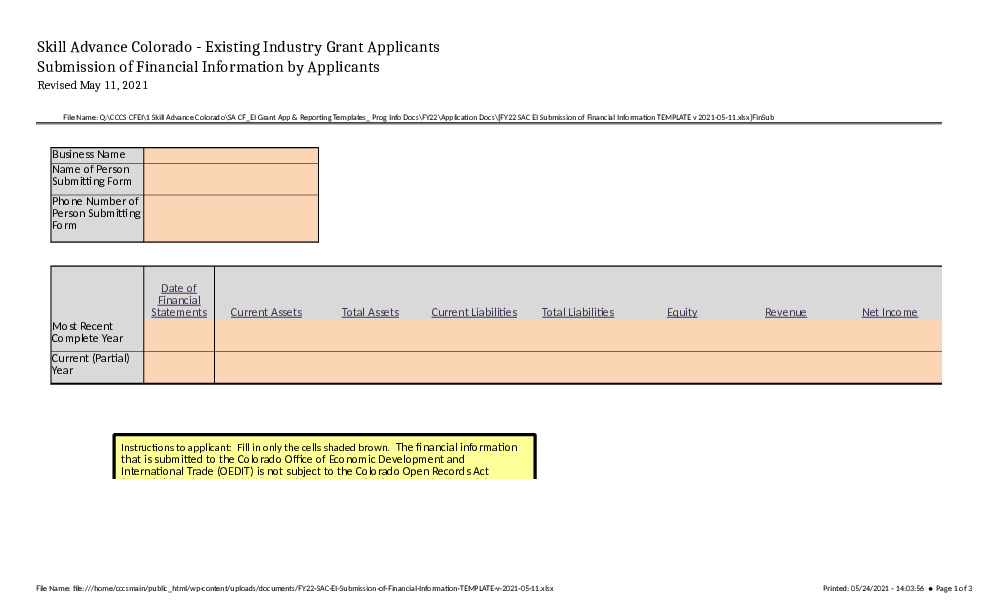 FY22 SAC EI Submission of Financial Information TEMPLATE v 2021-05-11 Excel