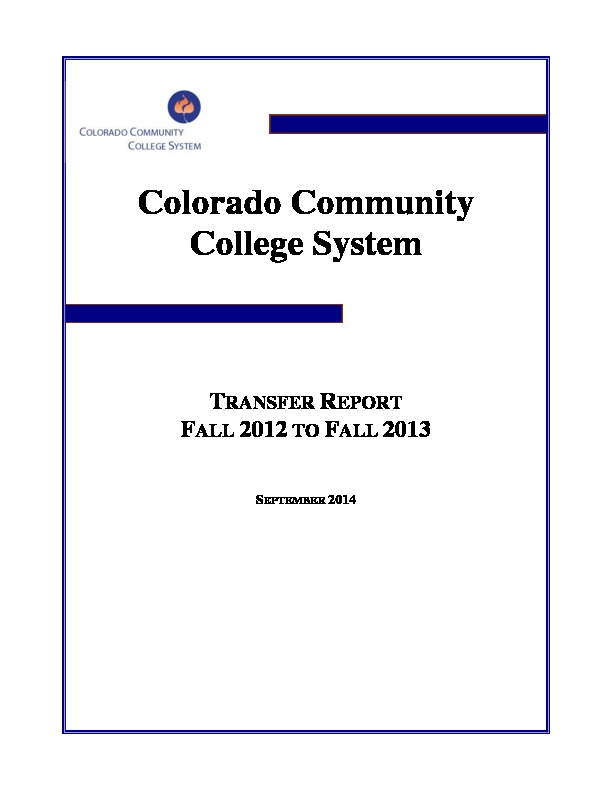 2013 Fall Transfer Report PDF