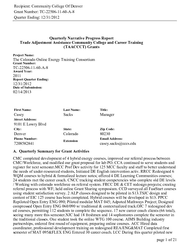 Quarter Ending December 31, 2012 PDF
