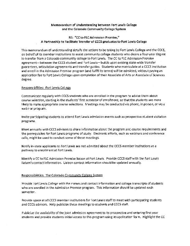 Fort Lewis Admission Promise PDF