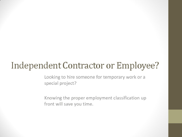 Independent Contractor vs. Employee Overview PDF
