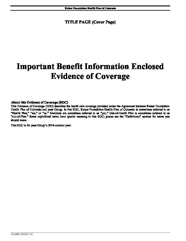 Kaiser Plan Description – Evidence of Coverage PDF