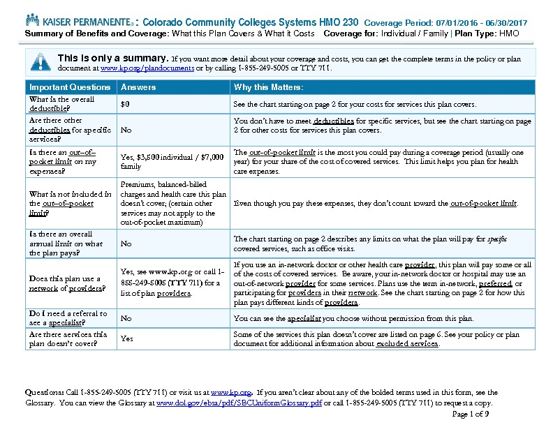 Kaiser Summary of Benefits and Coverage (SBC) PDF