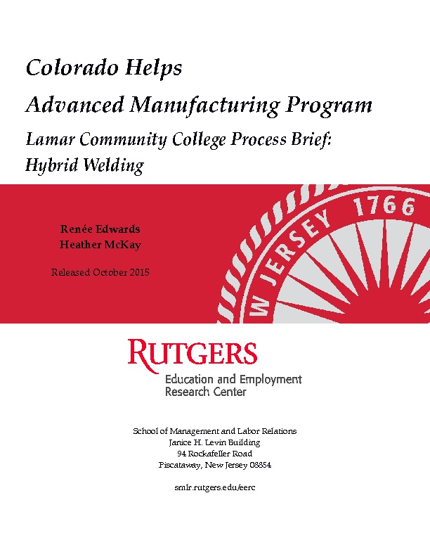 Lamar Community College Process Brief: Hybrid Welding PDF