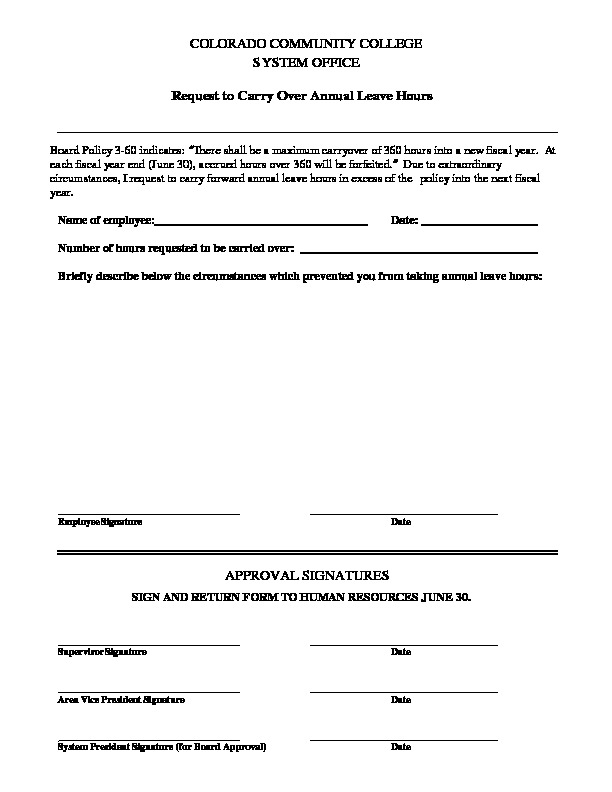 Leave Carry-over Request Form PDF