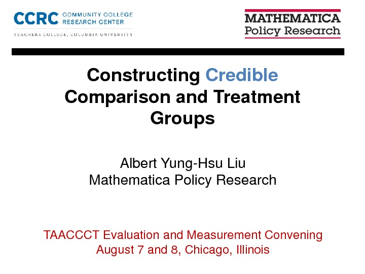 Constructing Credible Comparison and Treatment Groups. By Albert Yung-Hsu Liu PDF