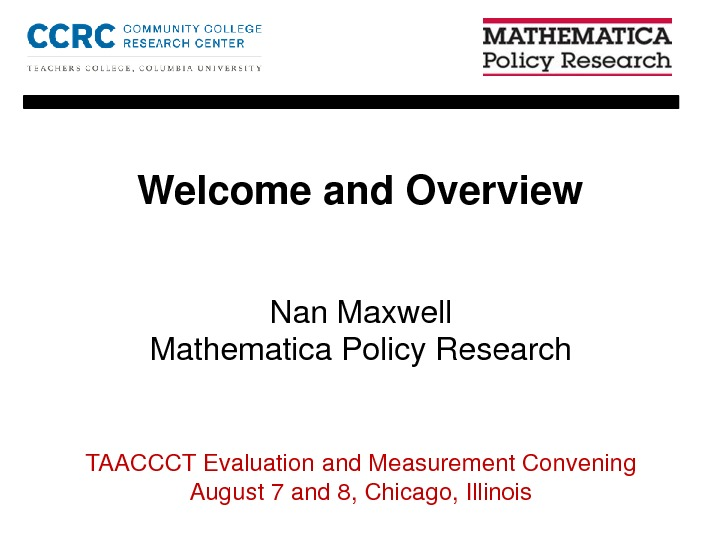 Welcome and Overview. By Nan Maxwell PDF