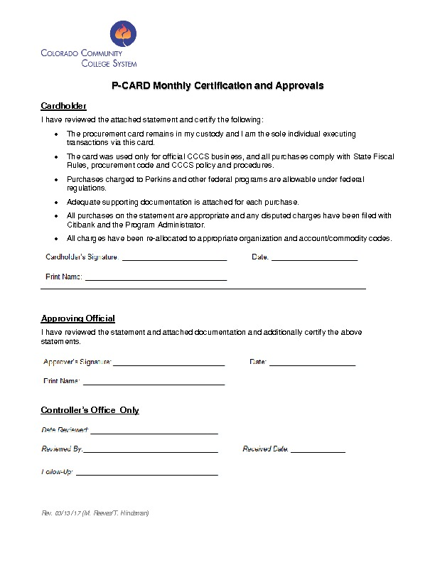 Monthly Certification and Approvals Form PDF
