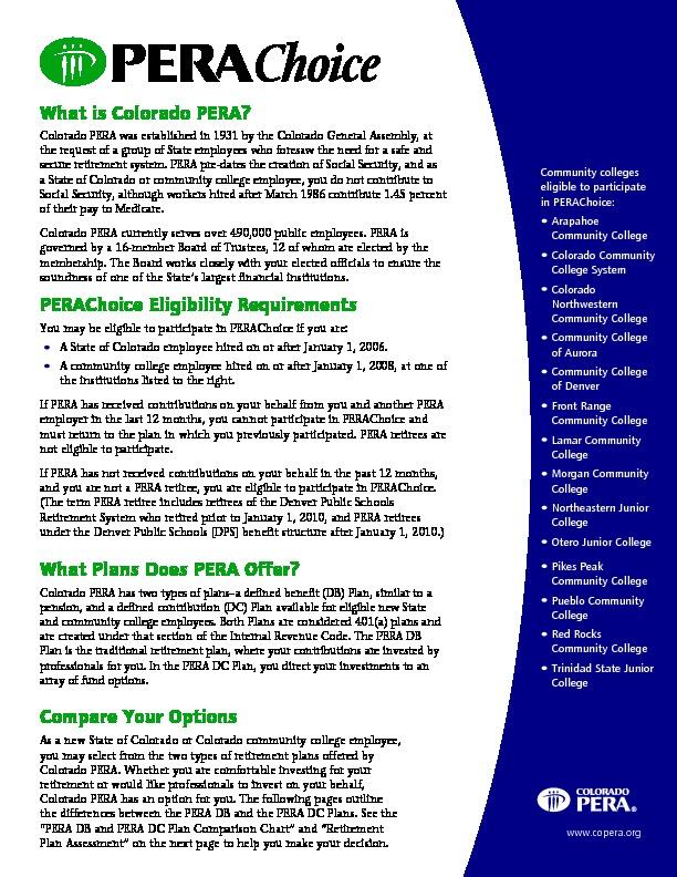 PERA Choice Brochure PDF