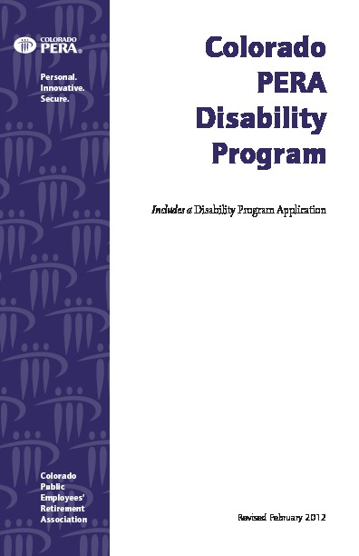 PERA Disability Program and Application PDF
