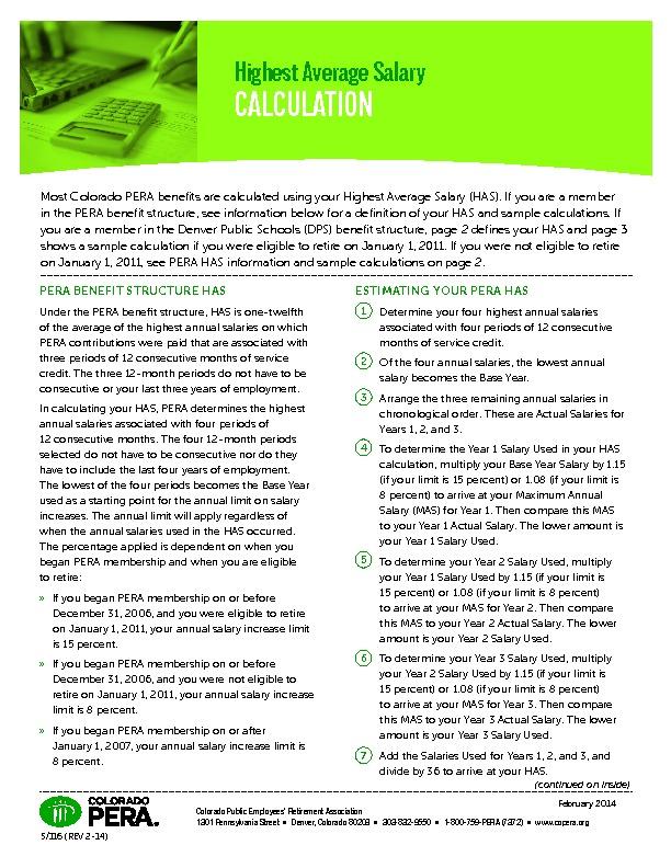 PERA Highest Average Salary Calculations PDF