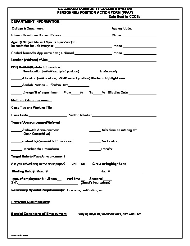 Human Resource & Payroll Forms - Colorado Community College System