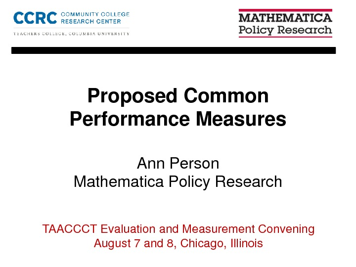 Proposed Common Performance Measures. By Ann Person PDF
