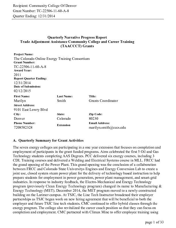 Quarter Ending December 31, 2014 PDF