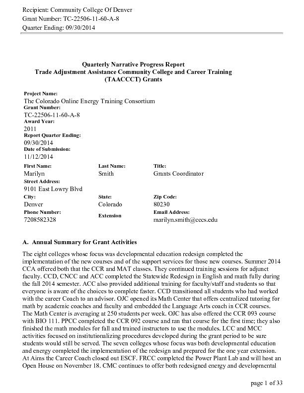 Quarter Ending September 30, 2014 PDF