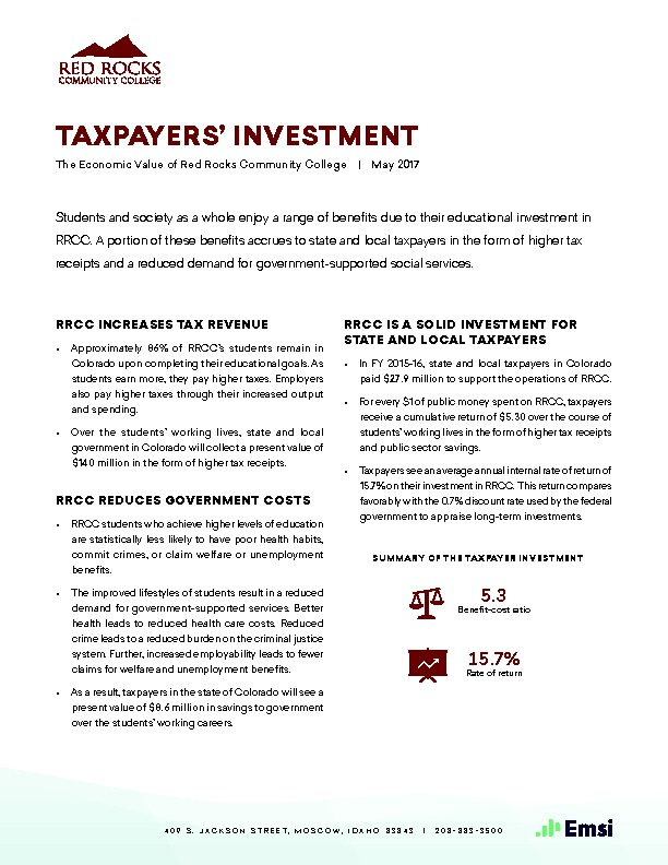 Taxpayers' Investment (RRCC) PDF