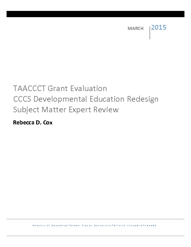 DevEd Subject Matter Expert Review – TAACCCT Grant Evaluation PDF