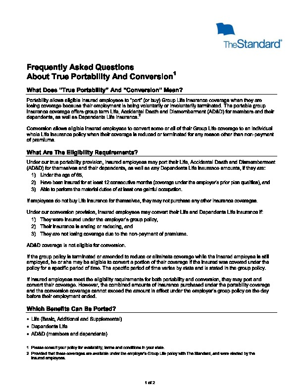 Standard Life Portability vs Conversion FAQ PDF