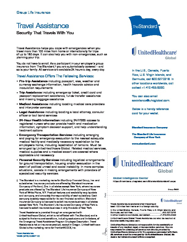 Standard Life Travel Assistance Policy PDF
