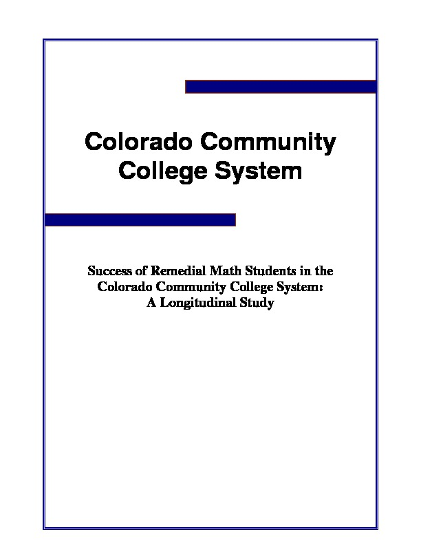 2009 Success of Remedial Math Students in CCCS (Longitudinal Study) PDF