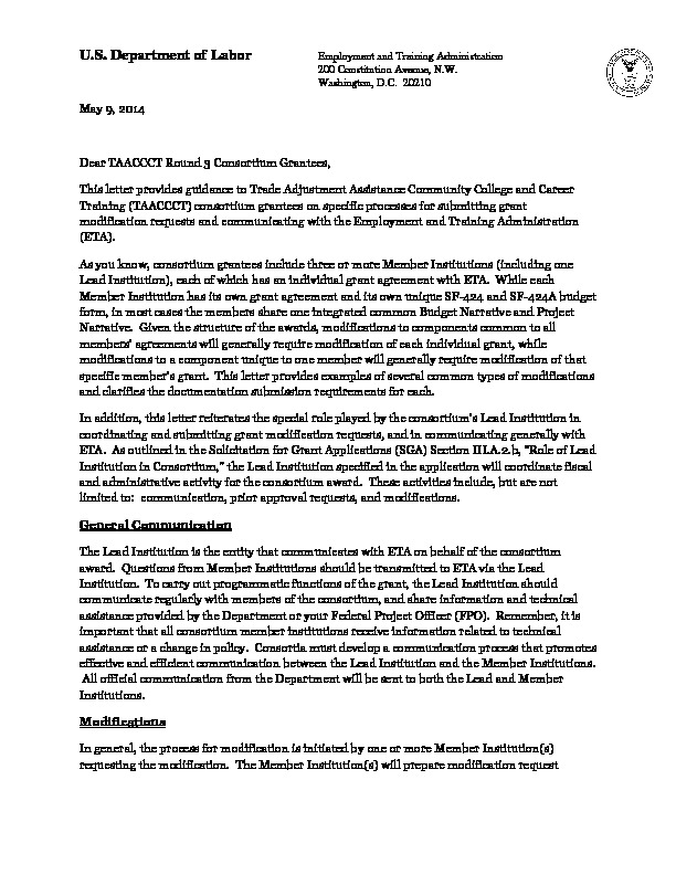 TAACCCT 3 Consortium Modification Letter</a> on processes for submitting grant modification requests and communicating with Employment and Training Administration (ETA) PDF