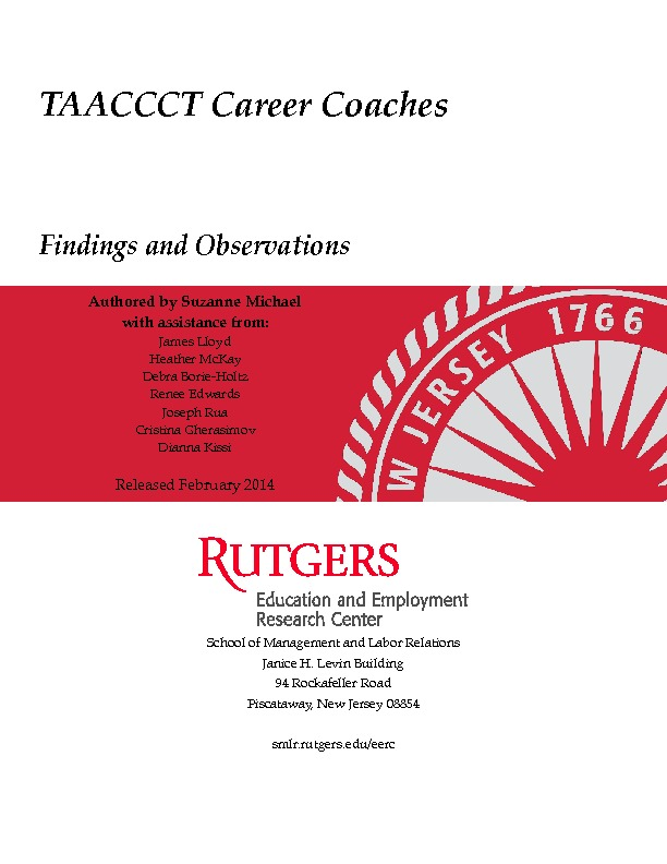 TAACCCT Career Coach Findings and Observations Feb 2014 PDF