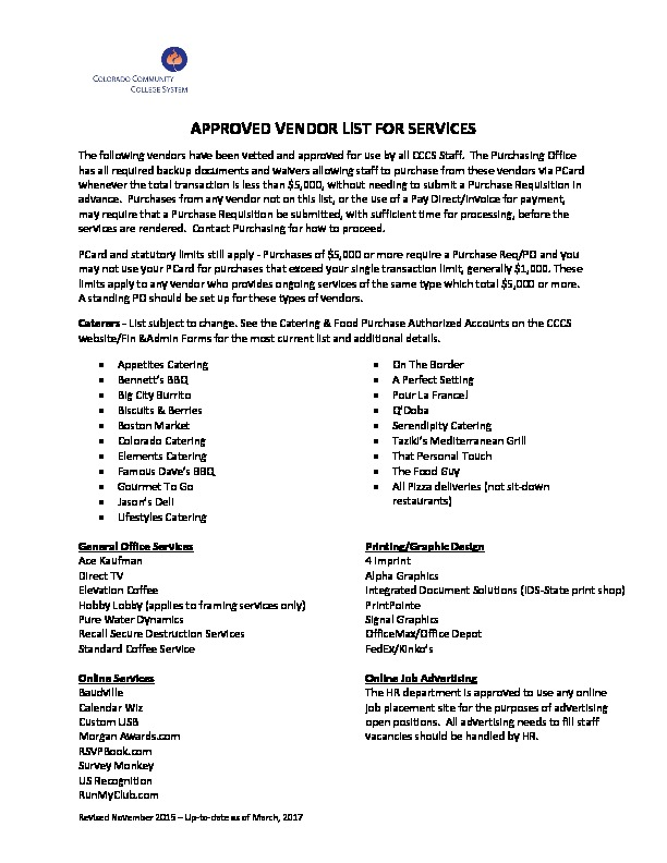 Approved Vendors for Services PDF