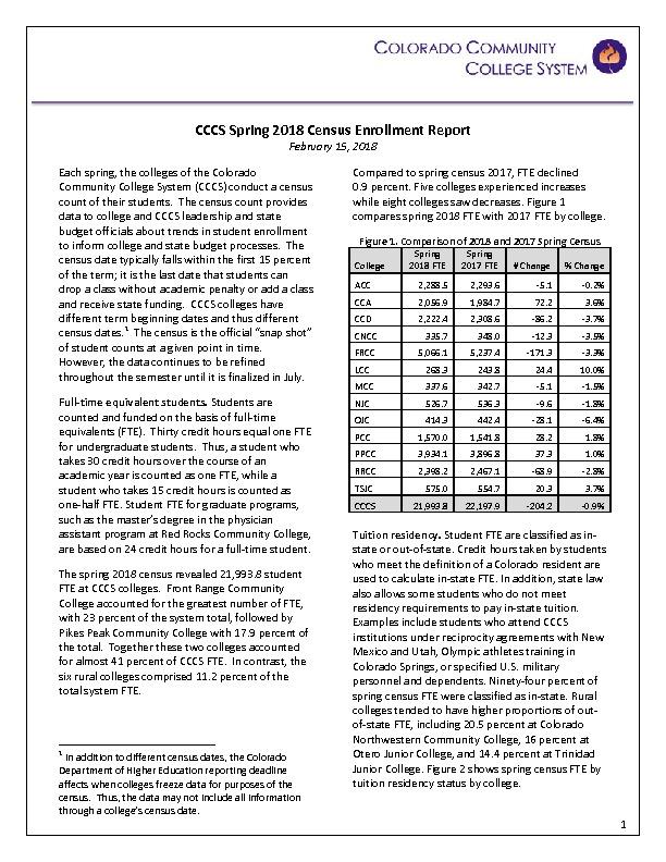 2018 Spring Census Report PDF
